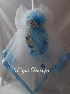 lumanare botez - decor plasa bleu