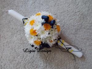 lumanare flori naturale - tematica pinguini - 210 lei