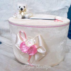 "cutie dar botez- ""flori roz"" - 60 lei"